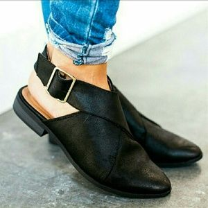 Shoes - Strap Flats with Buckle - Black